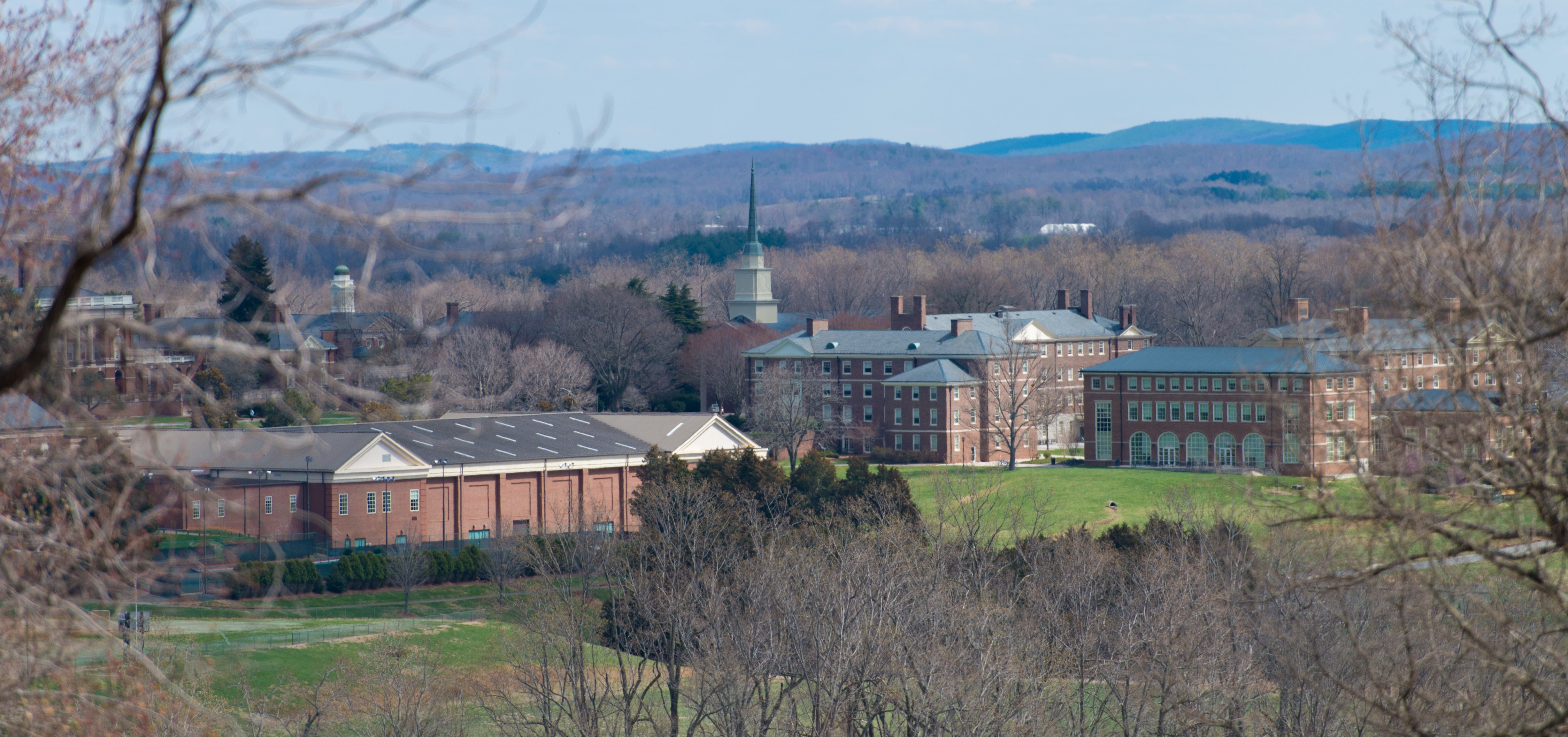 Monument Hill's view of the Sweet Briar campus where 21 of the 30 buildings are designated as the Sweet Briar College Historic District on the National Register of Historic Places. (Photo by Margret Wood '13)