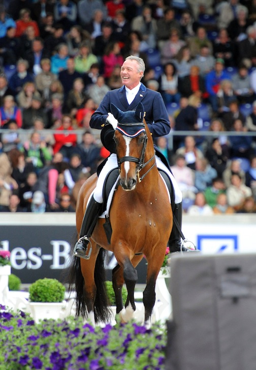 Jan Ebling using MDC stirrups while competing his Olympic partner Rafalca. (Photo courtesy of MDC)