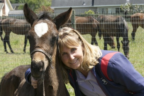 Kc Branscomb Kelley with one of her foals.