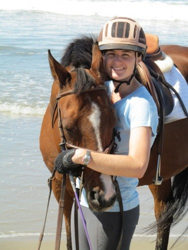 Alanna on her beach ride, one day after being diagnosed with breast cancer.