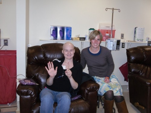 Allana, during her sixth chemotherapy session, with her friend Kellie.