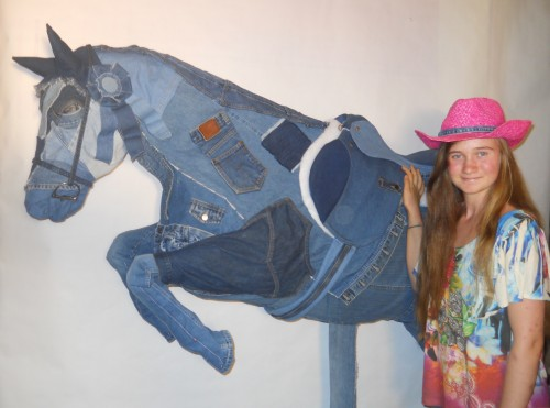 Shya with her Blue Jean Jumper sculpture