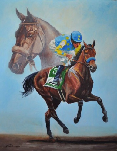 "American Pharoah, 14"" x 11"", Scratchboard, New Editions Gallery"