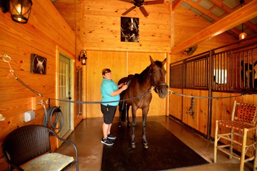 Vicki does a saddle fitting on Bella at Dolce Farm in Tryon, North Carolina. Photo by Linda Valerio Stenzel Photography