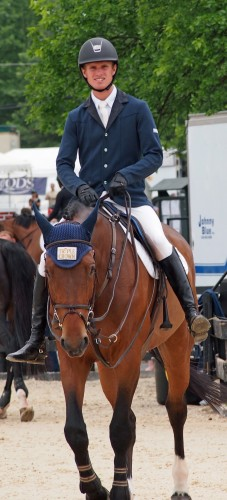 Kyle relaxing in the warm up ring before the Grand Prix in Upperville, Virginia. Photo by Michael Foster
