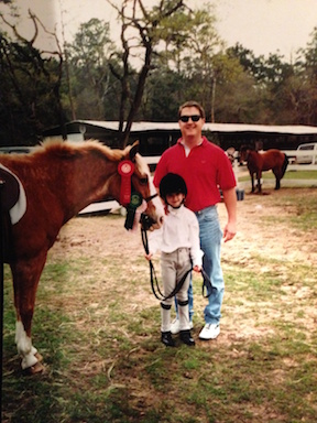 Meagan and her dad at her first short stirrup show in Texas.  Photo courtesy of Meagan Nusz