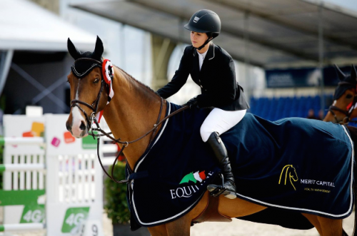 Meagan and Vesuvius after a great win in the 2* Final in Antwerp.  Photo by Noelle Floyd
