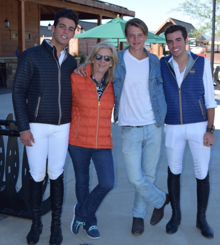 Models! Liliane Stransky with Emanuel Andrade (left), Clayton Russell and Andre Mershad (right).