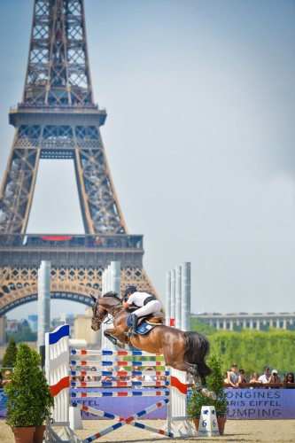 Grand Prix show jumper Margie Engle, who rides in a County saddle, competing in Paris, France. Photo by Erin Gilmore-Noelle Floyd