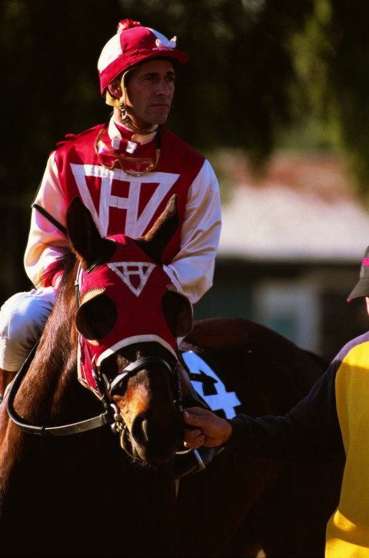 Real-life jockey Gary Stevens on Fred, also known as Seabiscuit. Photo by Katey Barrett