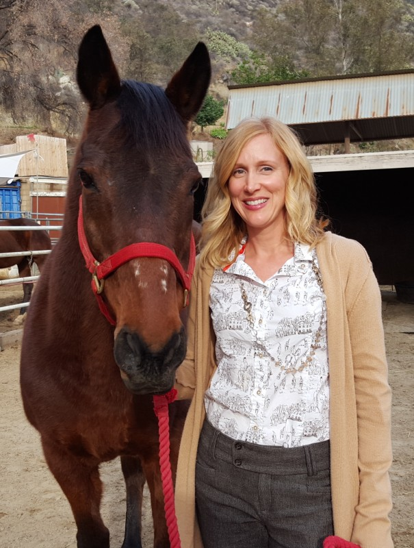 Susan with an equine movie star — Fred, the star of Seabiscuit. Photo courtesy of Susan Friedland-Smith