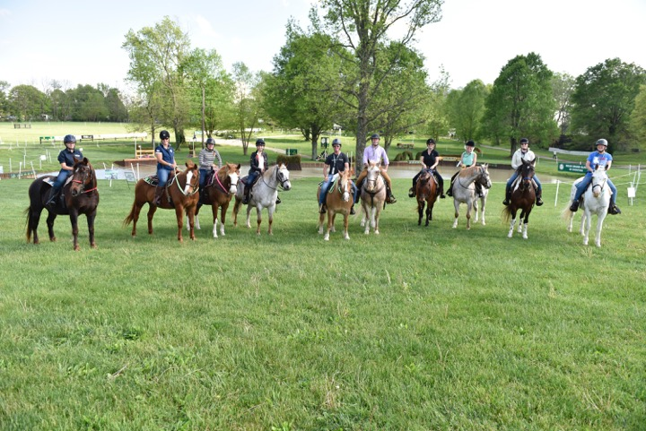 Sidelines photographer Becky Cole, far right, riding the Rolex cross-country course on Pocahontas. Photo courtesy of Rolex