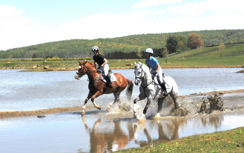 Connor Husain, on the chestnut, and Skyeler Voss, on the gray, gallop through the water at Morningside Farm. Photo by Lauren R. Giannini