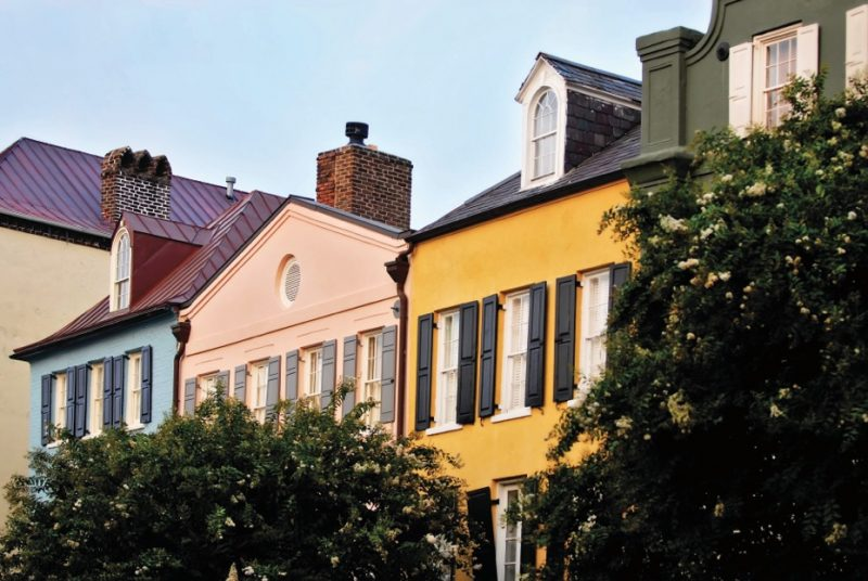 Downtown Charleston's Rainbow Row, aptly named for the colored houses