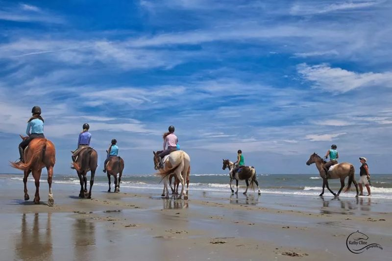 Horse show competitors taking part in the Charleston Summer Classic enjoy riding on the beach. Photo by Kathy Cline Photography
