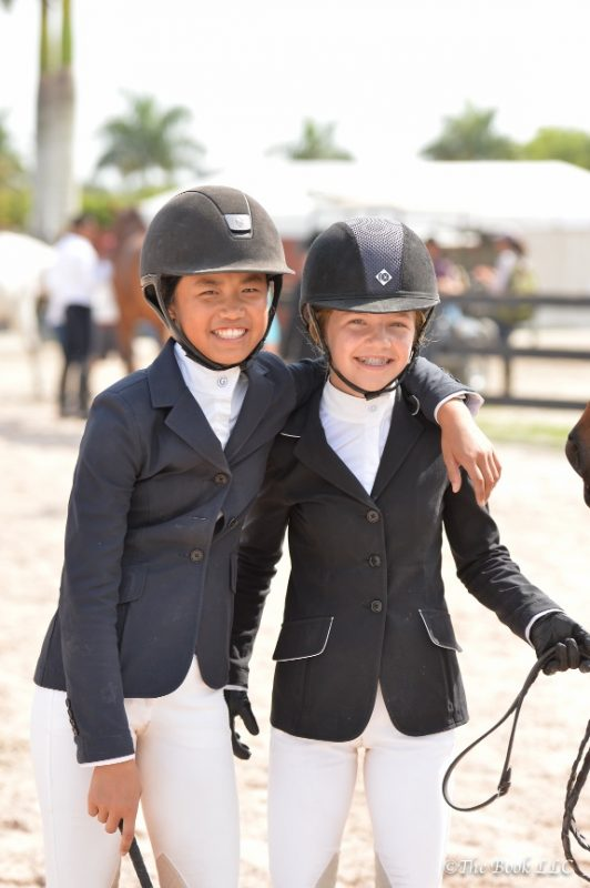 Mimi and Sophie outside the jumper ring at WEF Photo by The Book LLC