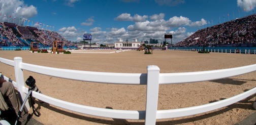 The view so many dream of — the equestrian venue at the 2012 Olympic Games at Greenwich Park in England. The Queen's house is at the end of the ring. Photo by Kim MacMillan/MacMillan Photography