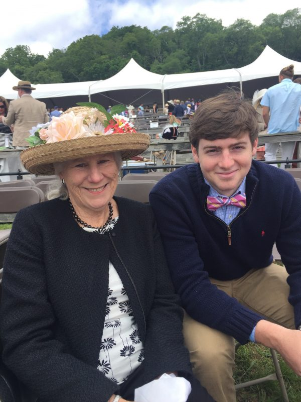Sissie and her grandson Mack Anderton, her late husband's namesake, at the Iroquois Steeplechase in May.  Photo by Michelle Anderton
