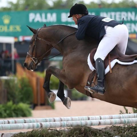 Mark competing at the Palm Beach International Equestrian Center. Photo by Sportfot Photography