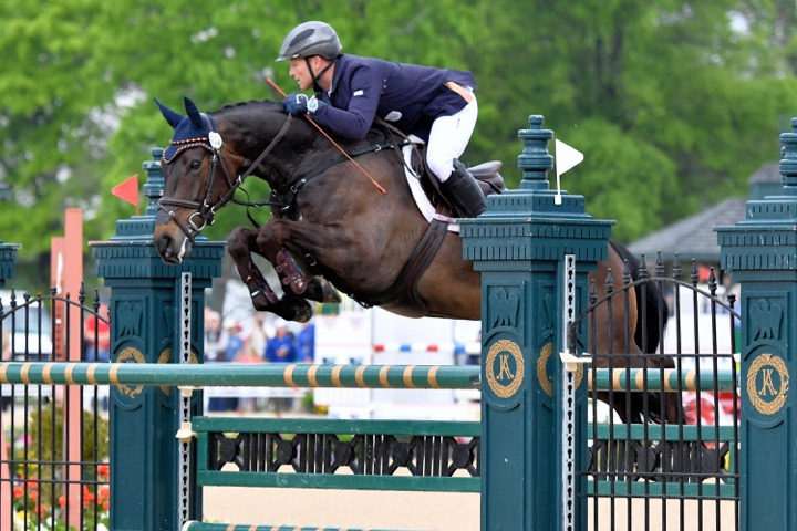 Michael Jung, the reigning Olympic three-day champion, on his way to victory at the 2016 Rolex Kentucky Three-Day Event. Photo by Mark McInnis