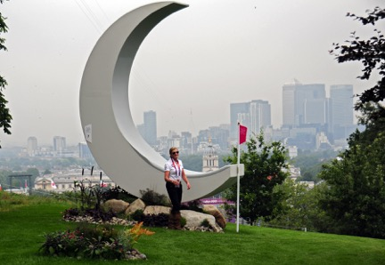 Making it to the Olympics is a dream come true, but also a demanding journey. United States eventer Karen O'Connor, a five-time Olympian for the United States, poses at the Moon jump at the 2012 Olympic Games with London as a backdrop. Photo by Kim MacMillan/MacMillan Photography