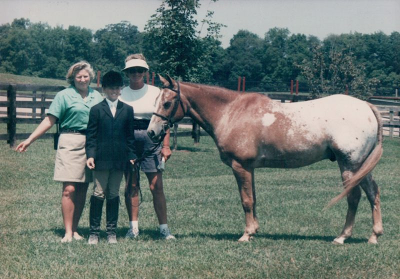Sissie with Sue Ashe and pony rider, Jonathan Lambert, on Tippy Canoe Photo by Phyllis Pennington