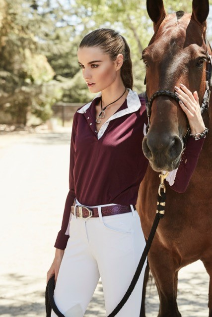 Outfit: Shirt in wine and Gulf breeches in white by R.J. Classics available at www.rjclassics.com Boots: Ariat, Volant available at www.ariat.com Belt: Mane Jane available at Manejane.com Bracelet and Necklace: Ideana available at Ideana.com Halter: Premiera, Vienna halter available at 20x60.com