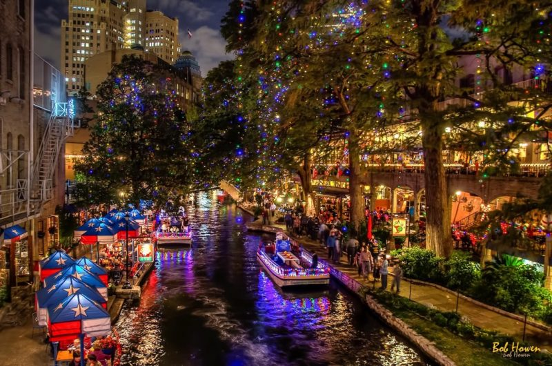 The San Antonio River gets a new nightlife during the holidays. Photo courtesy of VisitSanAntonio.com, photographer Bob Howen