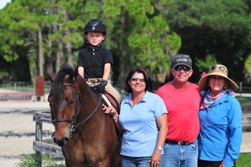 The Farrell family founded Fox Lea Farm in 1983 and running the show is a family affair. From the left: Clayton Farrell on his pony Best of the Best, Kim and Clay Farrell and Ann Pennington, Clayton's co-trainer along with his dad Clay. Photo by Victoria DeMore