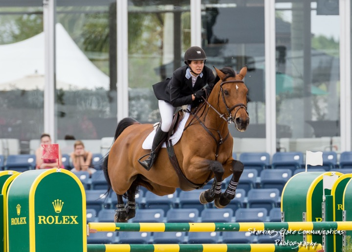Wesley and her top mount, Evita van de Veldbalie, competing at the Winter Equestrian Festival in Wellington, Florida. Photo by Starting Gate Communications